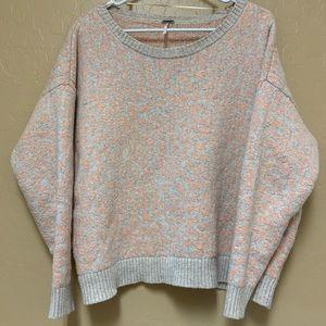 Peach and Heather Cream Leopard Print Sweater